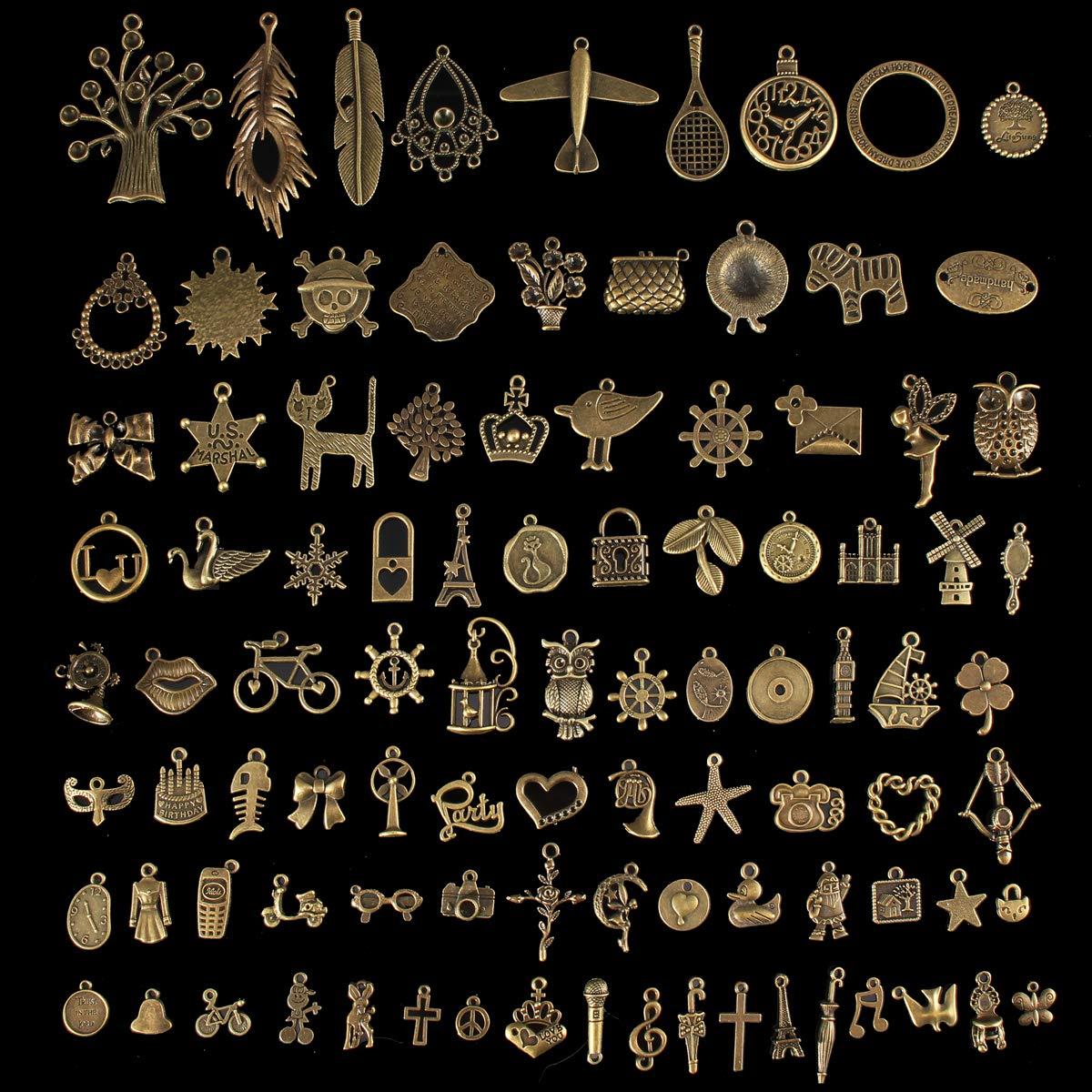 Jeteven DIY Kit de Pulsera Bronces Conjunto con un Algod/ón Perla Accesorios Pendientes DIY Fabricaci/ón de Materiale de Joyeria para Hacer Bisuteria 14 Tipos de Accesorios