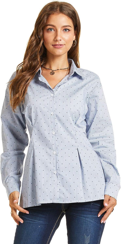 SONJA BETRO Women's Pokdot Button Down Pleated Waist Long Sleeve Shirt Blouse Top Plus Size