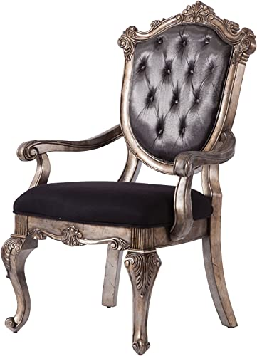 ACME Chantelle Arm Chair – 60543 – Silver Gray Silk-Like Fabric Antique Platinum