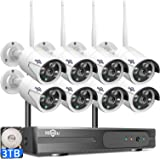 【3TB HDD Pre-Install 】 Hiseeu Wireless Security Camera System 8 CH NVR 8Pcs HD 1080P Indoor/Outdoor WiFi Surveillance…