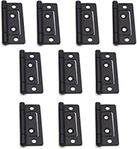 """Tulead Non-Mortise Hinges Chest Hinges Heavy Duty Hinges for Furniture 2""""x0.9"""",Black,10PCS with Mounting Screws"""