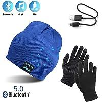 TAGVO Bluetooth V5.0 Beanie con Guanti Touchscreen Set, Inverno Caldo Lavorato a Maglia Senza Fili Bluetooth Cuffia Musica Cappello per Corsa Sci Escursionismo, Regalo di Natale