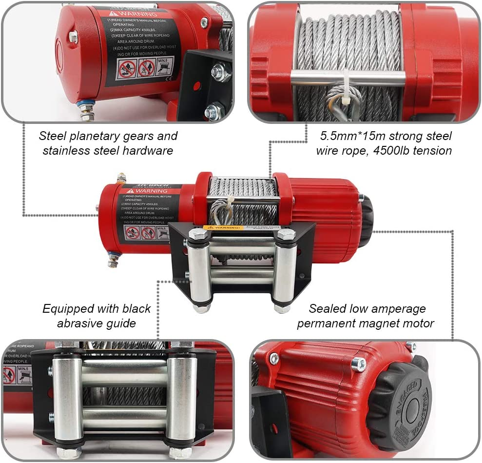 Ayleid 12V 4500lb Electric Winch with 12 Meters Steel Wire Rope Wireless Remote Control for Towing ATV//UTV Off Road Red