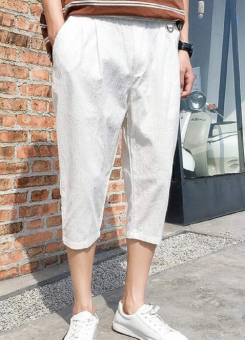 Sweatwater Mens Capri Harlan Elastic Waist Summer Linen Casual Straight Pants
