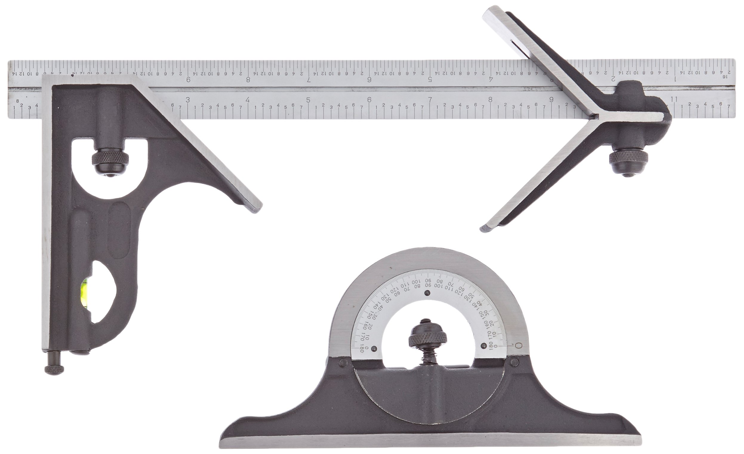 Fowler 52-370-012 Steel Combination Square Set with Baked Blue Enamel Finish, 4R Graduation Interval, 4 Blade, 12'' Length