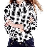 Cekaso Women's Gingham Shirt Cotton Slim Fit Long Sleeve Button Up Plaid Shirt