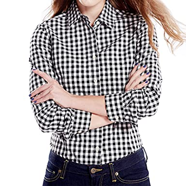 ec62b845 Cekaso Women's Gingham Shirt Cotton Slim Fit Long Sleeve Button Up Plaid  Shirt, Black,