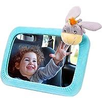 Espejo coche bebé del asiento trasero con cubierta linda del burro VICTSING, 3 lazos de cuerda para colgar muñecas, plástico rotación ajustable 360° con correas ajustables, seguro inastillable