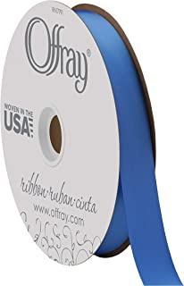 "product image for Berwick Offray 7/8"" Wide Double Face Satin Ribbon, True Blue, 100 Yards"