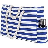 Turebest Bolsa de Playa Grande con Cremallera 22 x 15 x 6 Pulgadas Rayas marítimas Azul Blanco Shopper Bolsa de Hombro…