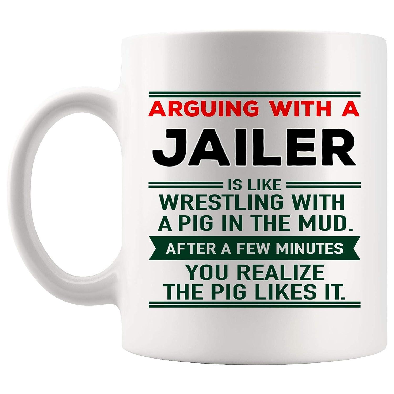 Amazon com: Arguing Jailer Mug Best Coffee Cup Mugs Gift