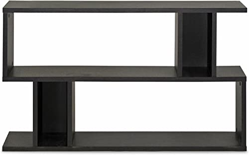 Baxton Studio Goodwin 2-Level Modern Bookshelf, Dark Brown