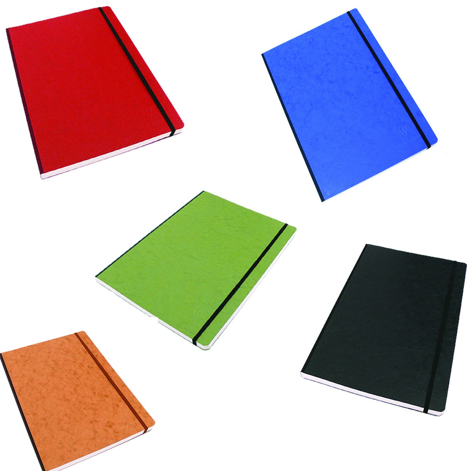 Pack of 5 Clairefontaine Basic Large Clothbound Notebook (8 1/4''x 11 3/4'') Black, Blue,Green, Red and Tan 192 Pages by Clairefontaine