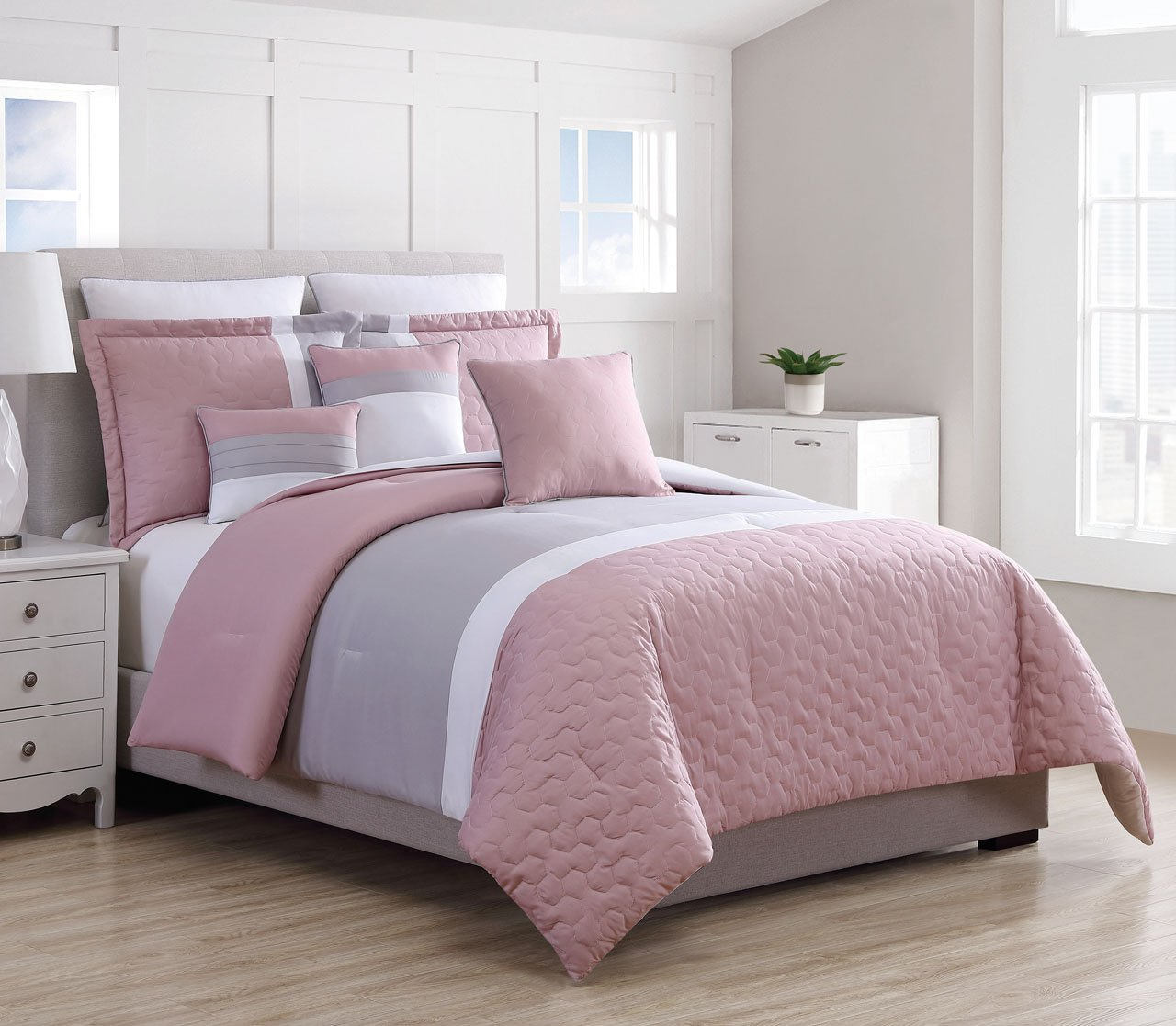 12 Piece Emma Pink/Gray Bed in a Bag Set King