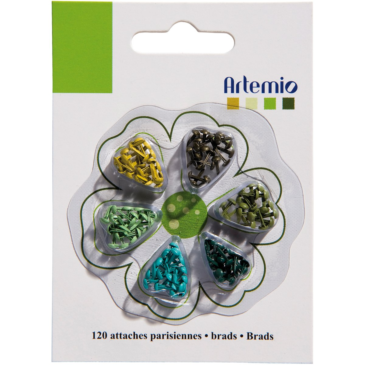Artemio 120-Piece Mini Brads, Green 11006070