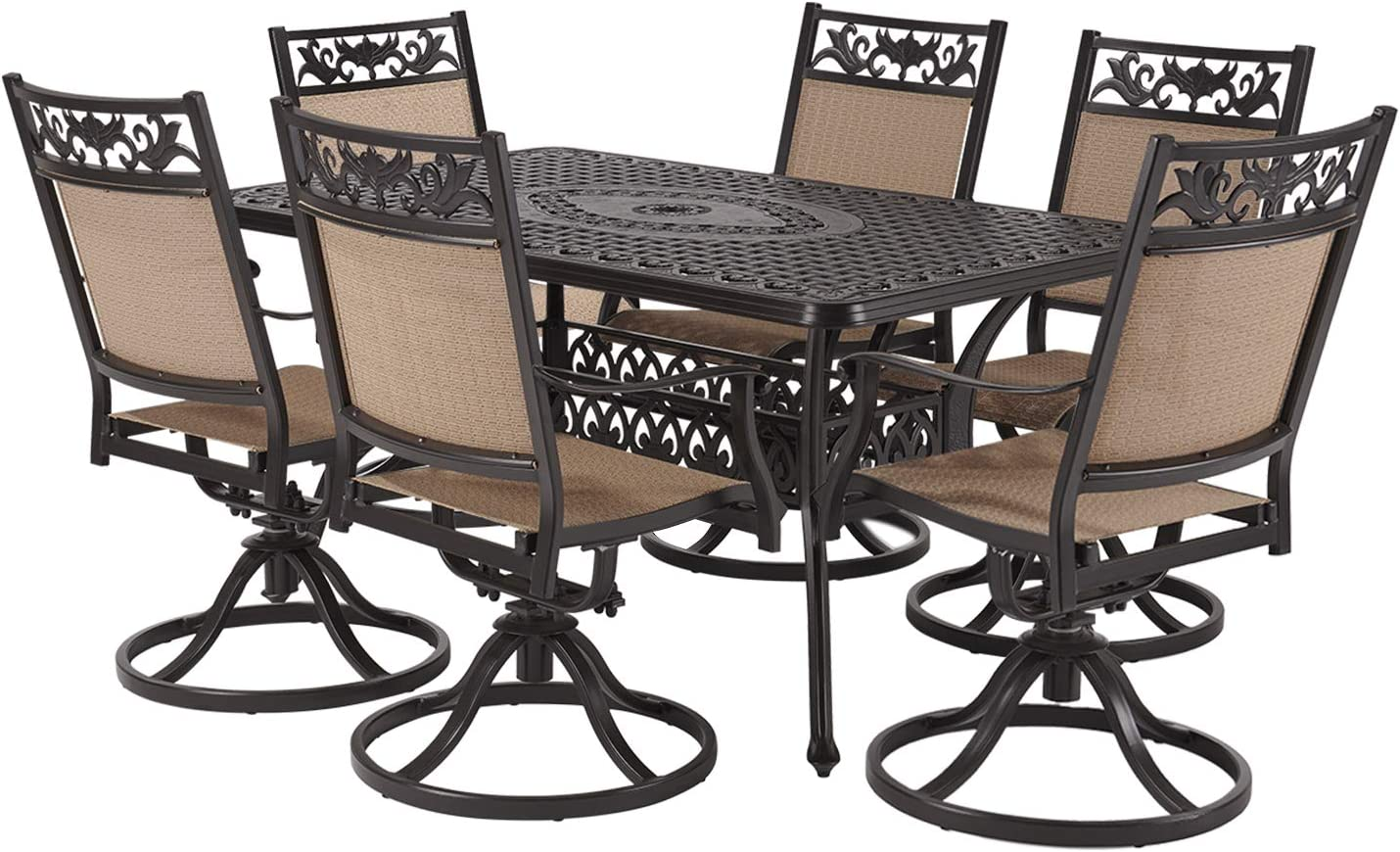 "Laurel Canyon Outdoor Dining Set, 7 Piece Cast Aluminum Furniture, 6 Patio Swivel Chairs, 36"" x 60"" Rectangular Table with 1.97"" Umbrella Hole for Yard Garden Deck, Dark Brown"