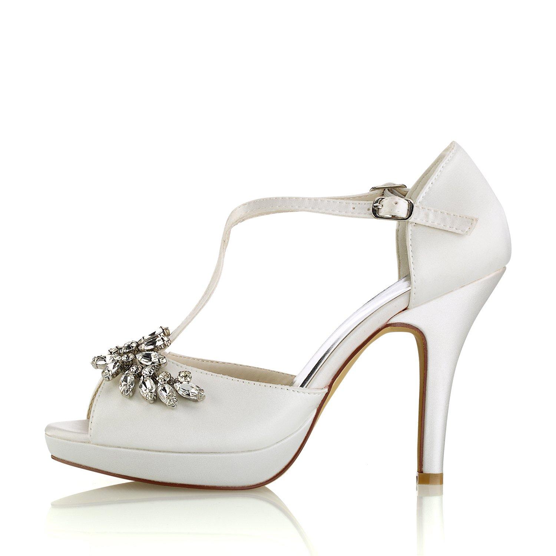 Emily Bridal Hochzeitsschuhe Elfenbein Hochzeitsschuhe Peep Toe Toe Toe Strass Criss Cross Brautschuhe High Heel Sandaletten 24d35d