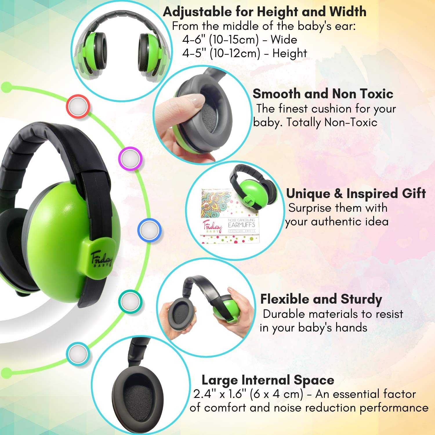 Baby Ear Protection - Comfortable and Adjustable Premium Noise Cancelling Headphones for Babies, Infants, Newborns (0-2+ Years) | Best Baby Headphones Noise Reduction for Concerts, Fireworks & Travels by Friday Baby (Image #2)