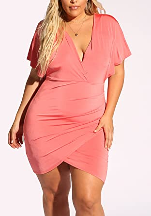 Debshops Womens Plus Size Plunge T Strap Bodycon Dress 3xl Coral At