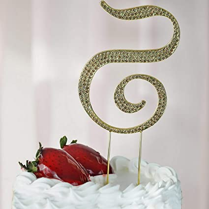 Amazon Com Mikash 4 5 Tall Gold Crystal Rhinestone Cake Topper