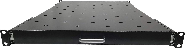 AEONS 1U 19-inch Sliding Rack Server Shelf Vented Sliding 4 Post Rack Mount Shelf for 600mm Depth IT Network Cabinet Enclosure Heavy Duty Adjustable Black 2 Pack