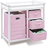 Costzon Baby Changing Table, Infant Diaper Changing Table Organization, Diaper Storage Nursery Station with Hamper and 3 Bask