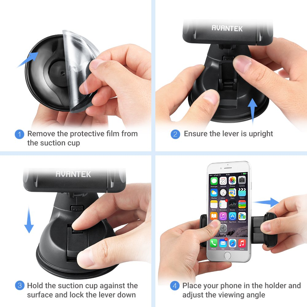 Samsung Galaxy S10 Plus S10e S9 Note 9 CM16 360/° Rotation Suitable for iPhone Xs Max XR XS X 8Plus 8 Adjustable and Universal Dashboard Windshield Car Mount Gel Pad Suction Cup AVANTEK Car Phone Holder