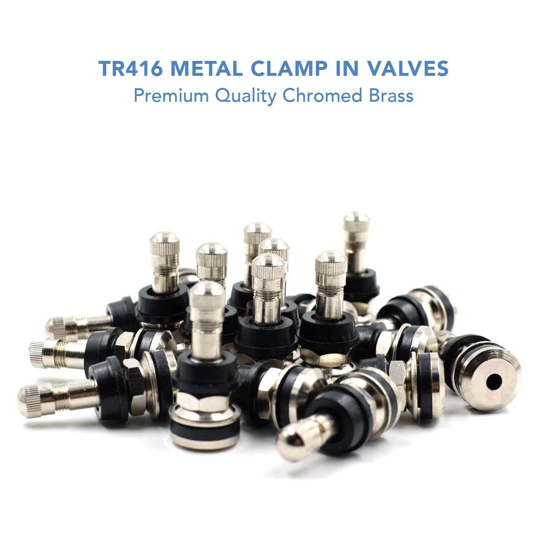 CK Auto 25 Pieces TR416 Metal Valve Stems Outer Mount Fits .453'' & .625'' Rim Holes Long 1 1/2'', Silver by CK Auto