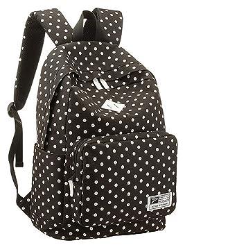 Amante bebé moda negro diseño de lunares lienzo mochila escolar Super Cute mochila portátil mochila Bookbag deportes mochilas: Amazon.es: Electrónica