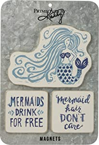 Primitives By Kathy Mermaid Hair Dont Care Magnet Set of 3 Home Decor