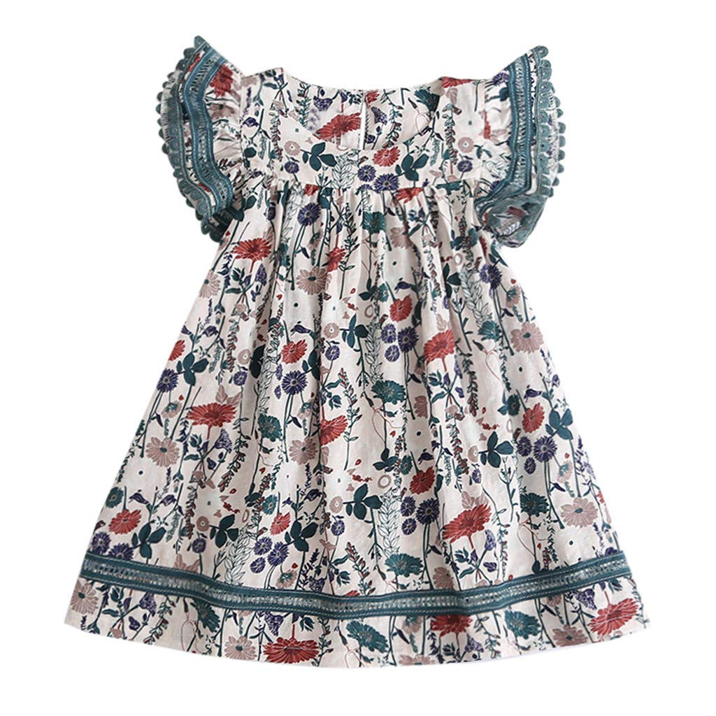 MOGOV Baby Girls Summer Casual Clothes Lace Floral Printing Flying Sleeves Party Princess Dresses