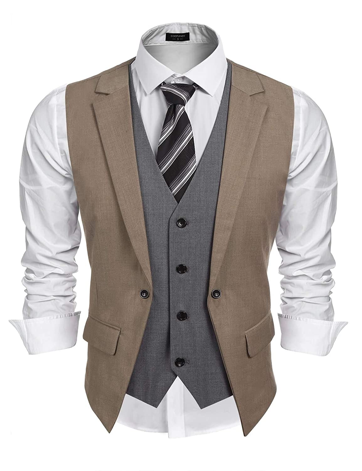 Coofandy Mens Waistcoat V-Neck Slim Fit Suit Vests Lapel 2 Piece Layered Sleeveless Jacket