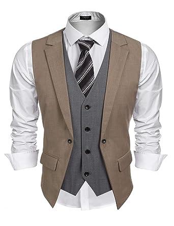 Coofandy Mens Formal Fashion Layered Vest Waistcoat Dress Vest At