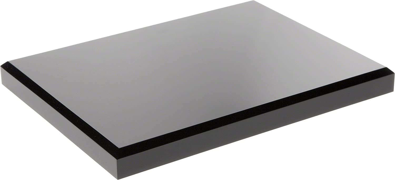 "Plymor Black Acrylic Rectangular Beveled Display Base, 0.75"" H x 8"" W x 6"" D"