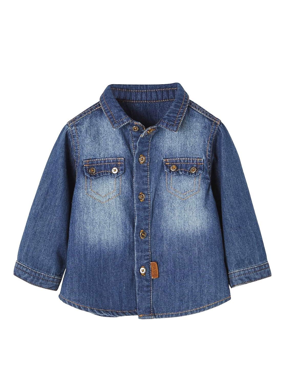 Vertbaudet Jeanshemd für Baby Jungen, Used-Effekte