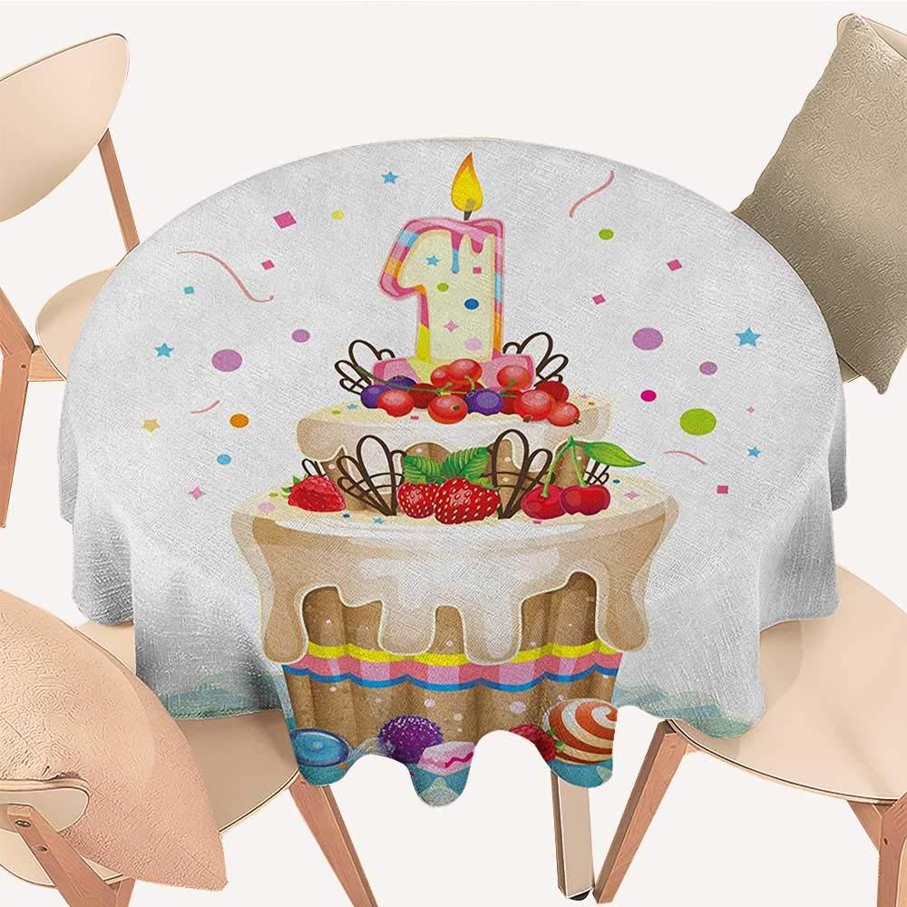 longbuyer 16歳の誕生日 しわにならないテーブルクロス 手描きスタイル キュートでスイートな16の花びら 星 ハートパターン マルチカラー D 36