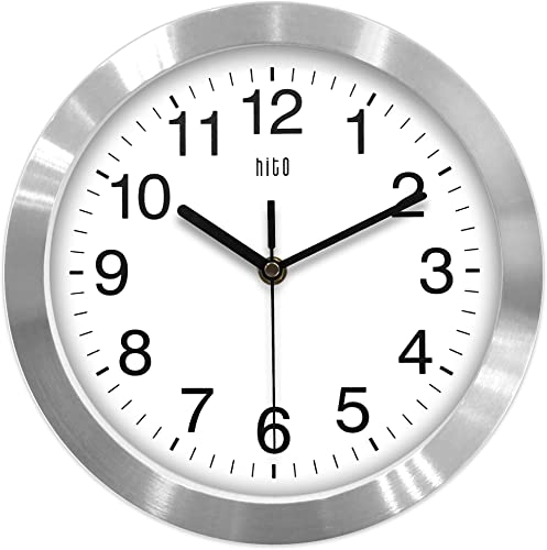hito Modern Silent Wall Clock Non Ticking 10 inch Excellent Accurate Sweep Movement Aluminum Frame Glass Cover, Decorative for Kitchen, Living Room, Bedroom, Bathroom, Bedroom, Office Silver