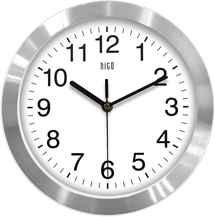 hito Modern Silent Wall Clock Non Ticking 10 inch Excellent Accurate Sweep Movement Aluminum Frame Glass Cover, Decorative for Kitchen, Living Room, Bedroom, Bathroom, Bedroom, Office (Silver)
