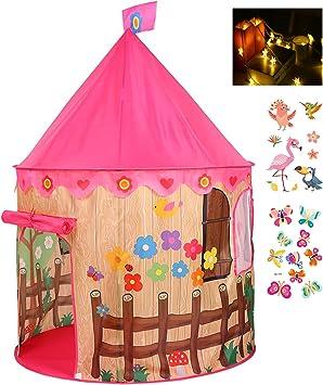 Georgie Porgy Casa de Juego Plegable para Niños Portátil Tienda Castillo Jardín de Juguete al Aire Libre de Interior Pájaro Rosado Tienda Gratis para Luz LED + Niños Tatuaje Pegatina *2: Amazon.es: