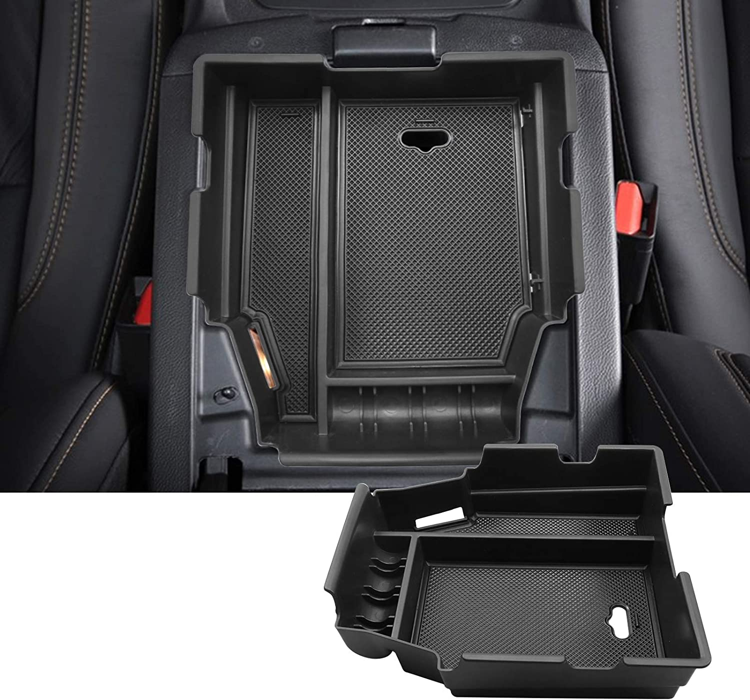 White SKTU Center Console Organizer Compatible with 2019 2020 Traverse Accessories Insert ABS Black Materials Tray Armrest Secondary Storage Box with Coin and Glass Holder
