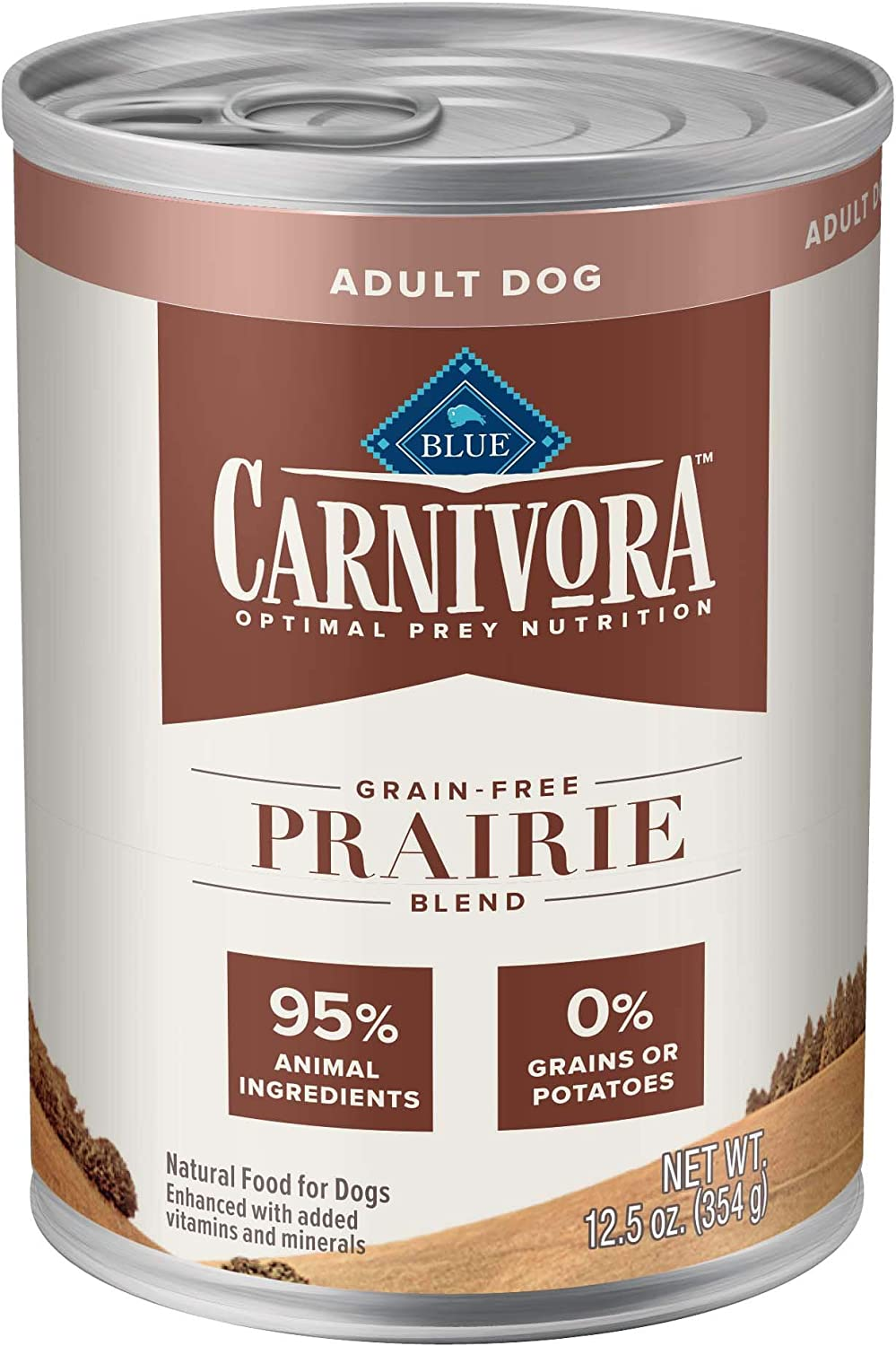 Blue Buffalo Carnivora Optimal Prey Nutrition High Protein, Grain Free Natural Adult Wet Dog Food Cans, Prairie Blend 12.5oz (Pack of 12)