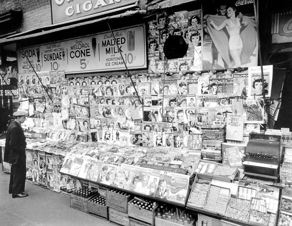 """1935 Newsstand, 32nd & 3rd, New York City Vintage Photograph 8.5"""" x 11"""" Reprint"""