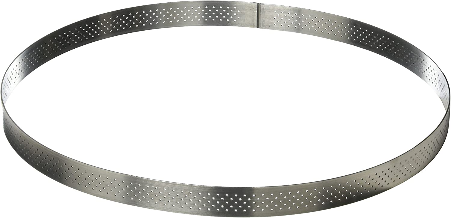 PERFORATED TART RING, Round, in Stainless Steel, 0.75-Inch high O 11.25