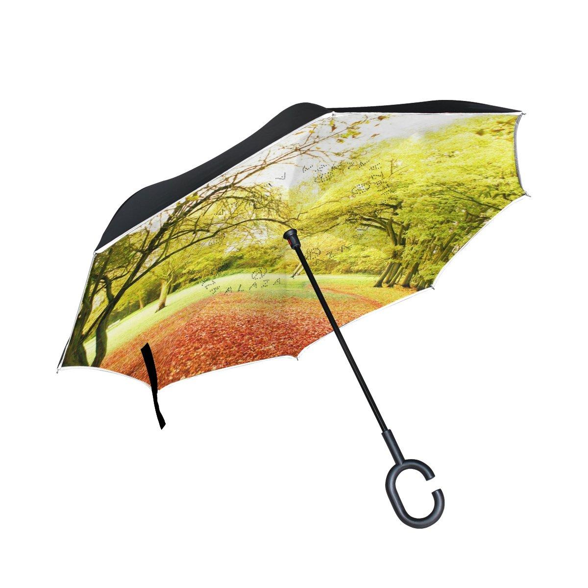 xianghefu Double Layer Inverted Reverse Umbrellas秋景色公園風景ツリー折りたたみ防風UV保護Big Straight for Car C型のハンドル   B07FCQMNVK