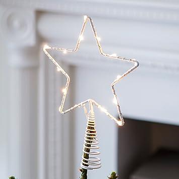 Weihnachtsdeko Led Stern.Lights4fun Led Stern Christbaumspitze Weihnachtsdeko Batteriebetrieb