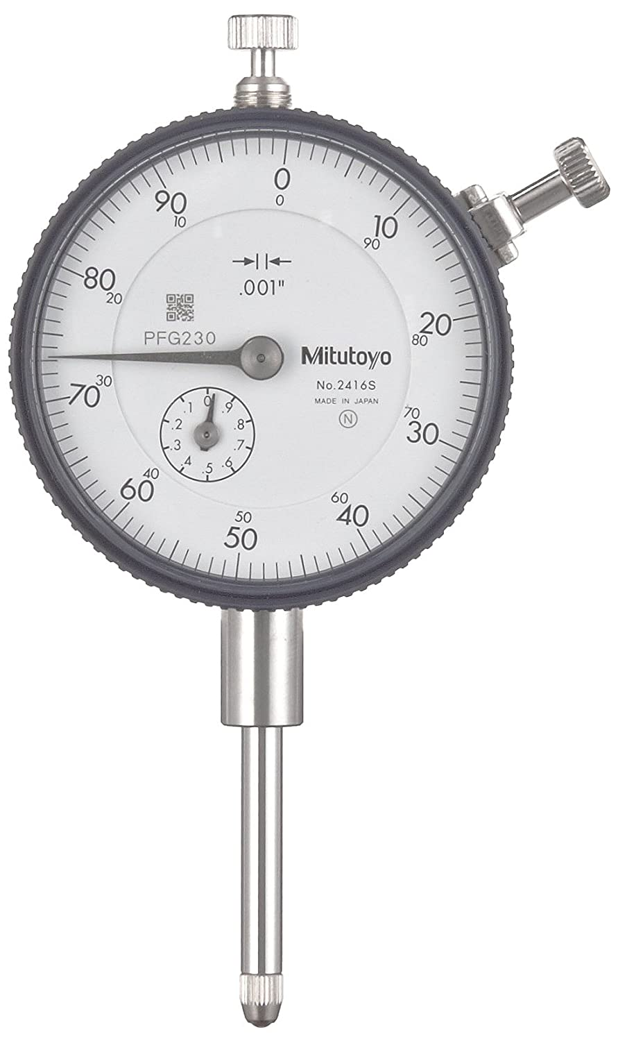 Mitutoyo2416S Dial Indicator 4 48 UNF Thread 0.375 Stem Dia lug Back White Dial 0 100 Reading 2.244 Dial Dia 0 1 Range 0.001 Graduation 0.002 Accuracy