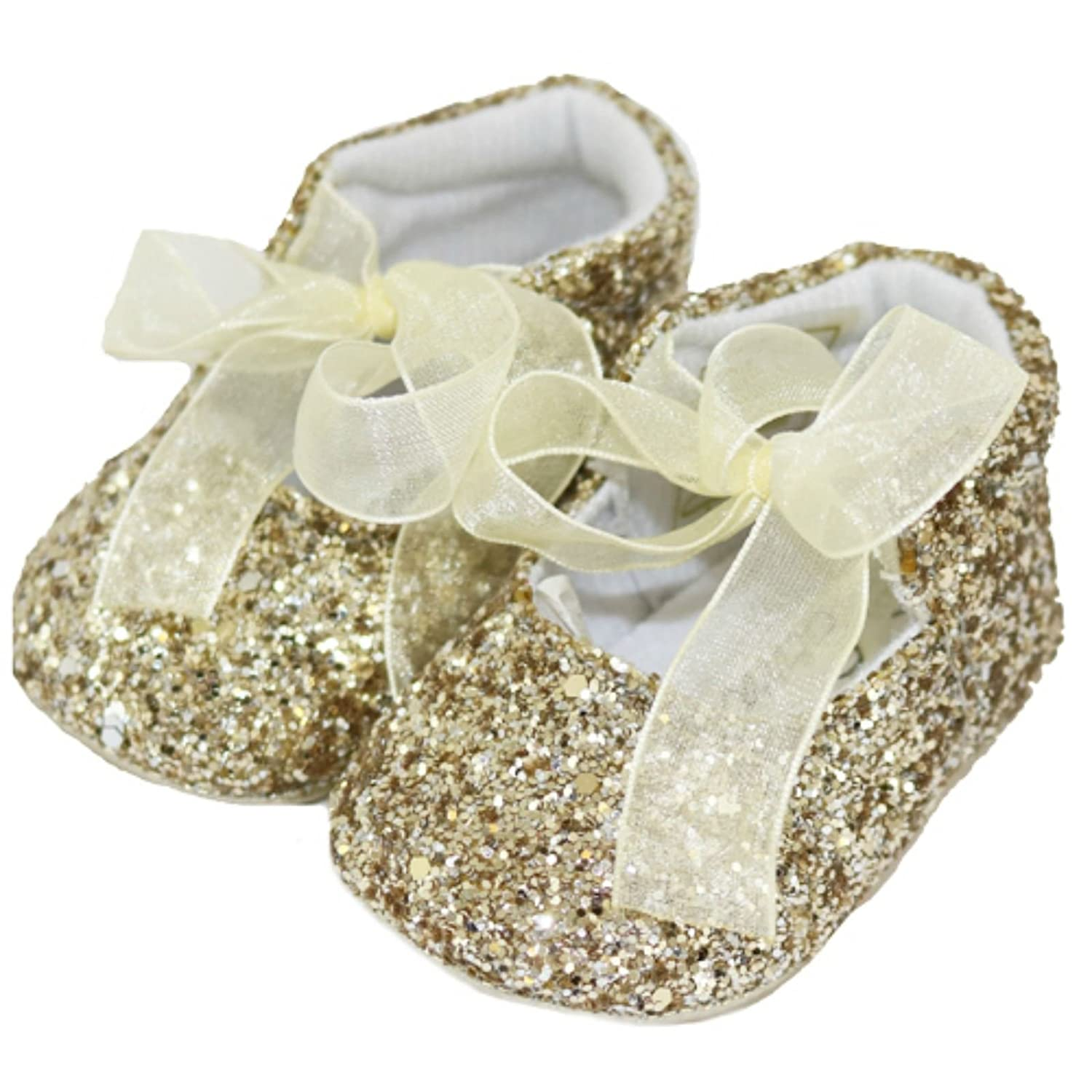 Baby Girls Pram Shoes/Booties - Sparkle Party Glitter Pre-Walkers