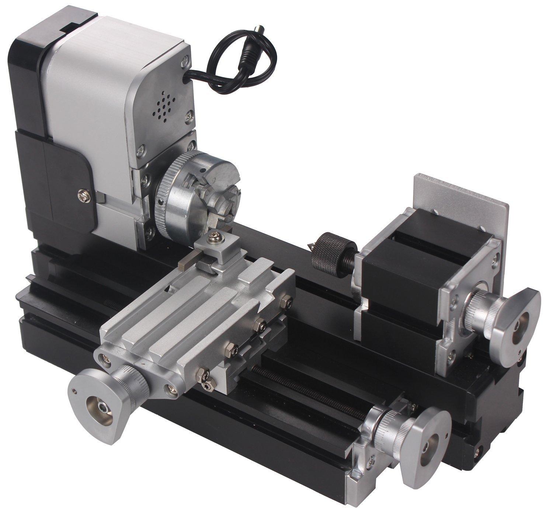 Zowaysoon 24W Mini Metal Motorized Lathe Machine Woodworking DIY Power Tool Model Making