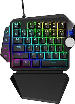 UrChoiceLtd Teclado mecánico para juegos RGB con una sola ...