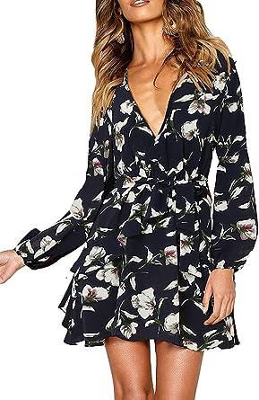 ROVLET Womens Midi Dress Off The Shoulder 1//2 Long Sleeve Ruffle Vintage Dresses Boho Sundress Dating Party